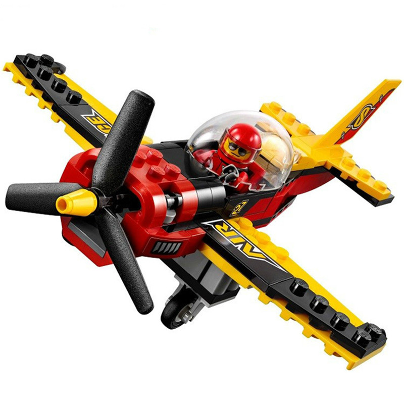 City Place Figures Race Plane Model Building Kits Blocks DIY Bricks Toys Fighter For Children Compatible With Legoing