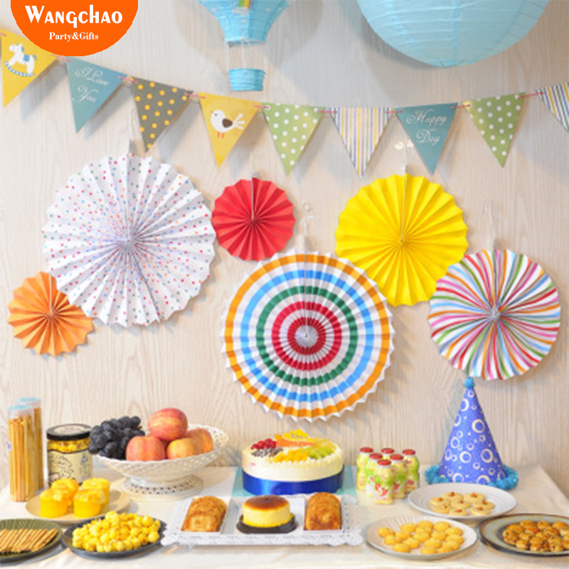 Striped Paper Fans Wall decoration kids happy Birthday ...