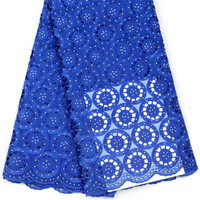 African Voile Lace Fabric 2018 High Quality Lace Swiss Voile lace In Switzerland Cotton Sky Blue Dresses For Women F406 1