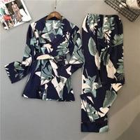 2018 New Silk Pijama Suit Women Two Piece Set Woman Pyjama 8446
