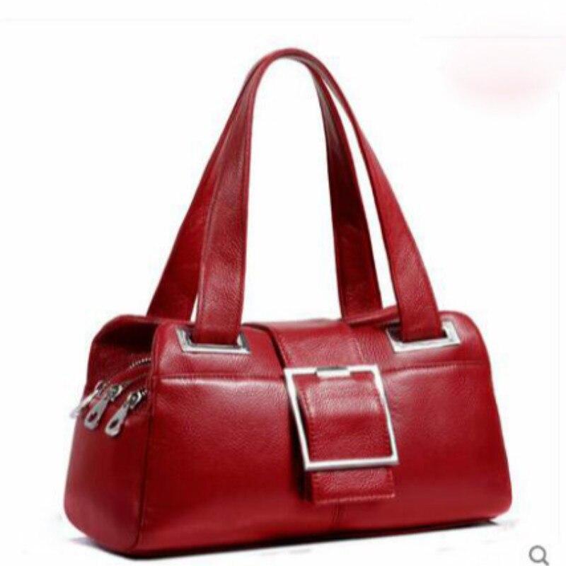 Sac en cuir véritable femmes sac à bandoulière pour femmes 2019 sacs à main femmes marques célèbres dames sacs à main sac Messenger noir - 3
