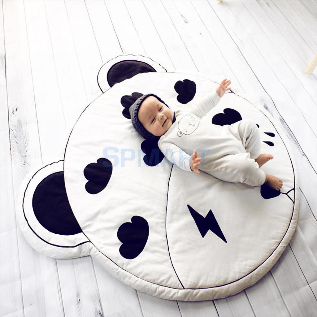 Kids Baby Infant Black White Cloud Game Play Mat Crawling Pad Carpet, Dia.95cm 11 11 free shipping adhesive sander back pad sanding machine mat black white for makita 9035
