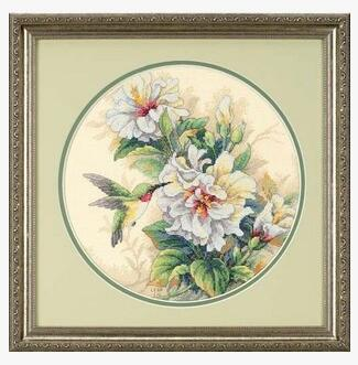 Top Quality Popular Counted Cross Stitch Kit Hibiscus Duo Hummingbird Bird And Flower Flowers Dim 35156