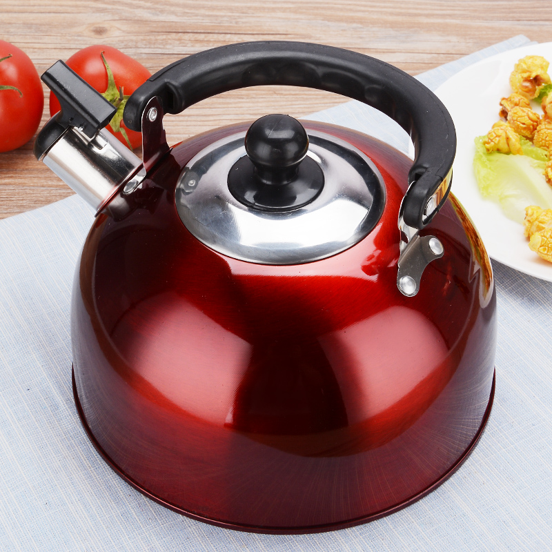 Real Hot Sale Red  Whistling Kettle For Gas Stove Bouilloire 3l Stainless Steel Whistle Tea Kettle Water Bottle Beautiful