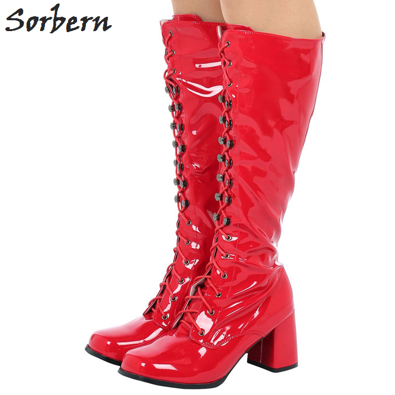 Sorbern Vintage 1960'S Gogo Boots Knee High Ladies Shoes 2018 Custom Colors Square Toe Low Heeled Boots For Women Side Zipper