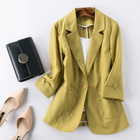 Ladies Candy Color Linen Blazer Feminino 2018 Slim Short Suit Blazers Women New Fashion Spring Blazer Mujer Casual Plus Size