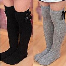 Stockings Bowknot Striped Christmas-Girls White Winter Kids Knee-High Cotton Warm Black