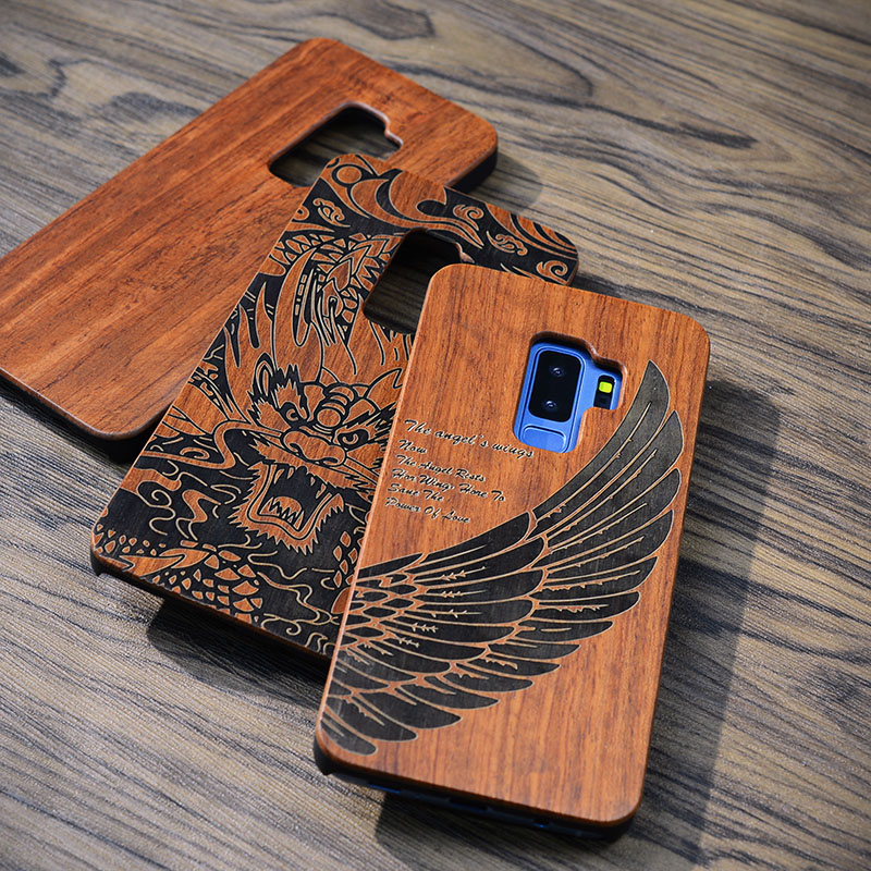 new york 65c30 c8fad US $7.08 26% OFF|Retro Flower Carving Wood + PC Phone Case For Samsung  Galaxy S9 S8 S7 edge S9plus Note 8 Natural Wooden Hard Case Cover-in Fitted  ...