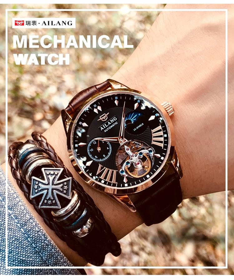 HTB1leXCd9SD3KVjSZFKq6z10VXaP AILANG Quality Tourbillon Men's Watch Men Moon Phase Automatic Swiss Diesel Watches Mechanical Transparent Steampunk Clock
