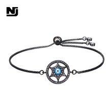 NJ Zircon Modern Lady Geometric Star Bracelet For Women Gold Silver Black Chain Link Charm Bracelets Jewelry Girls High Quality