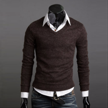 2018 aowofs new men's v-neck sweater fashion men's cotton bottoming sweater men's autumn and winter long-sleeved sweater men's s