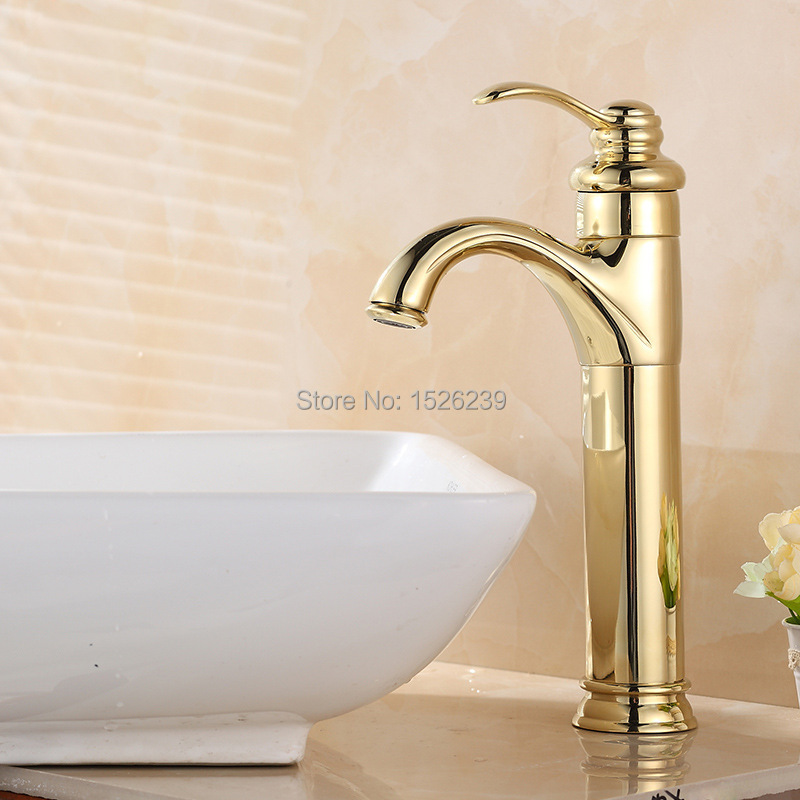 Solid Brass Gold Plated Basin Faucet Bathroom Faucet Single Hole Bathroom Sink Faucet Gold Mixer