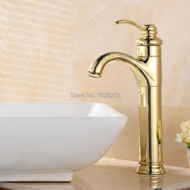 Solid Br Gold Plated Basin Faucet Bathroom Single Hole