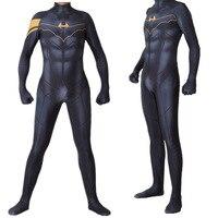 Adult Kids Movie Batman Jumpsuit Cosplay Costume Superhero Printing Bruce Wayne Bodysuit Zentai Tight Catsuit Halloween