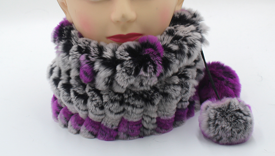 Womens Winter Hats Scarf Knitted Real Rabbit Fur Hat Natural fur Neck Scarf Girls Winter Warm Hat Beanies (17)