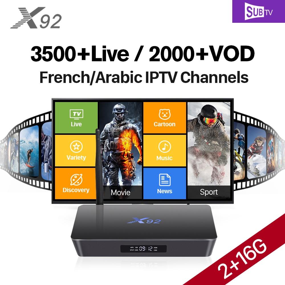X92 ТВ Box Smart 4 К Ultra HD 2 г 16 г Европа Каналы Android 7,1 кино Спорт Sub ТВ подписка Европа арабский французский IP ТВ коробка