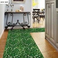 Nano efekt 3D Floral Zielona trawa trawnik Naklejki salon sypialnia podłogowe Dekoracyjne naklejki naklejki Ścienne tła