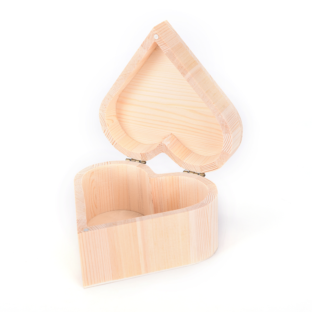 Delicate Makeup Organizer Jewelry Boxes Wooden Heart Shape Vintage Storage Box For Wedding Gift Home Storage Bin Earrings Ring