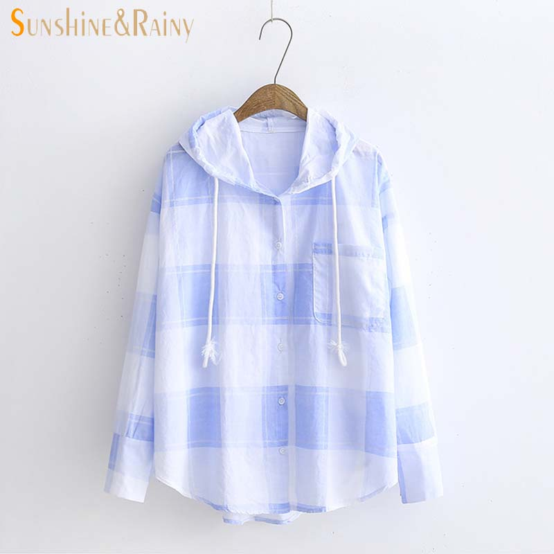 Lattice Sunscreen Clothing Female Loose BF Harvests Long Sleeved Coat Summer Hooded Cardigan Short Female Causal New Jacket