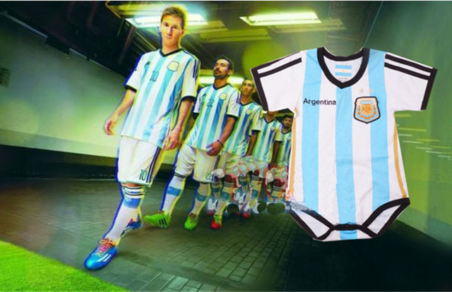 a1223cbe3c0 2014 Argentina jerseys Baby cotton soccer jersey Rompers,Newborn infants BB  Argentina football clothes baby coveralls sportswear