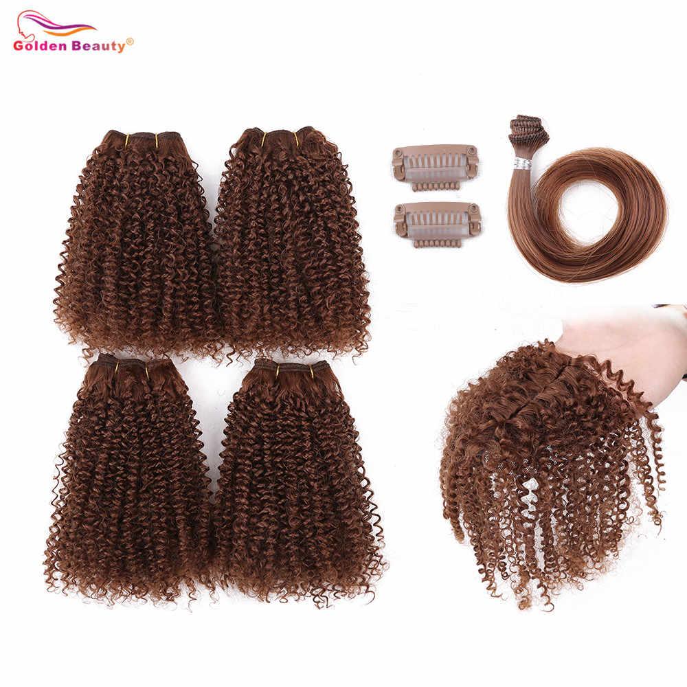 12 дюймов афро кудрявые вьющиеся волосы завивка искусственных волос пучки с закрытием шиньон для волос наращивание один пакет заполните голову золотой красоты