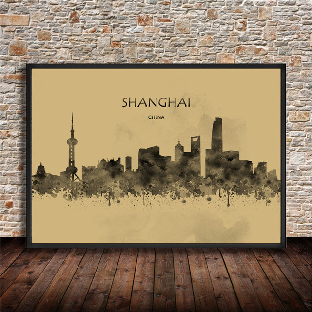 Watercolor City Series Painting SHANGHAI China Print krafts paper ...