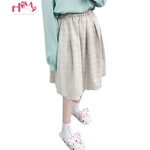 Image 1 - 2020 Japanese Soft Girl kawaii Skirts Women Summer Lolita High Waist Vintage Skirt Cute Plaid Lace A Line Tutu Midi Skirt
