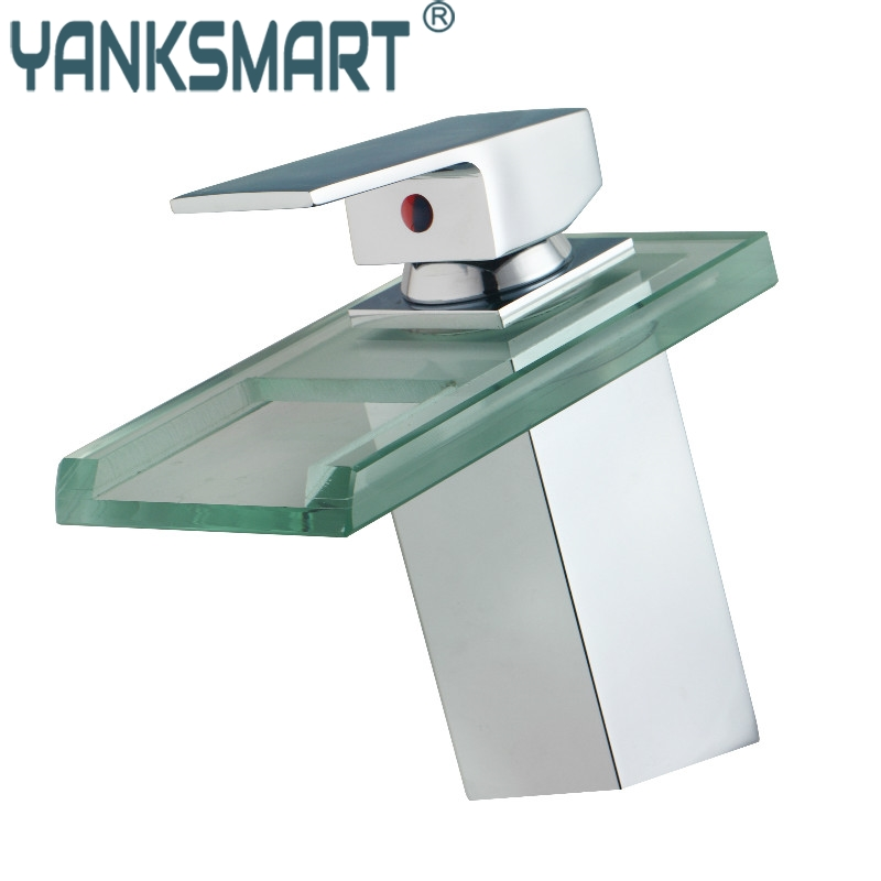 Bathroom Faucet Polished Chrome Water-fall Brass Glass Bathroom Deck Mounted Basin Faucet Mixer Tap