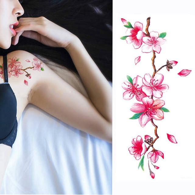 1 Piece Temporary Tattoo Sticker Water Transfer Wing: 1 Piece Temporary Tattoo Sticker Colorful Peach Blossom