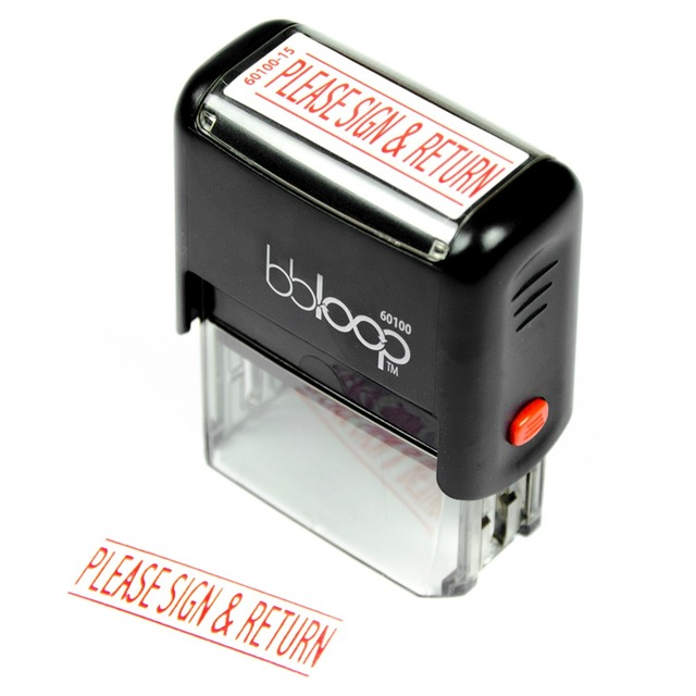 bbloop please sign and return self inking stamp rectangular