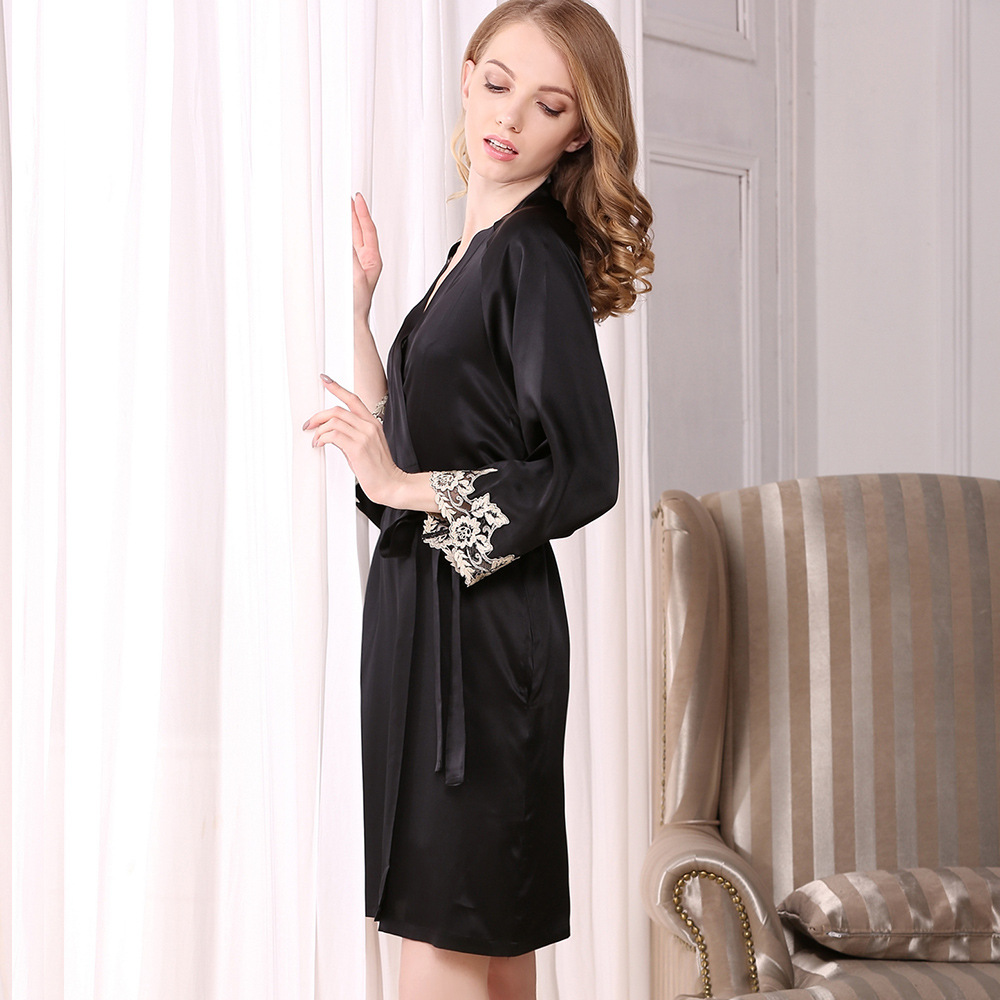 CEARPION Elegant Bathrobe Gown 100% Silk Lace Sleepwear Trim Nightgown Femme Summer Kimono Bride Robe Sexy Lace Nightwear