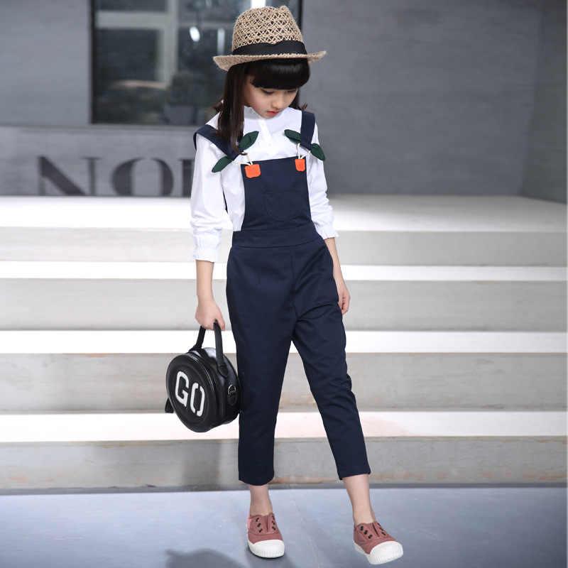 2019 בגדי פעוטה סתיו חזרה לבית הספר תלבושת Teen/ילד/ילדי בגדים לבן חולצה + סרבל מכנסיים 4 5 6 7 8 9 10 11 12