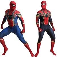 Deluxe Adult Spiderman Costume Cosplay Men Iron Spiderman Avengers Infinity War Bodysuit Jumpsuit Suit Halloween Costume For Men