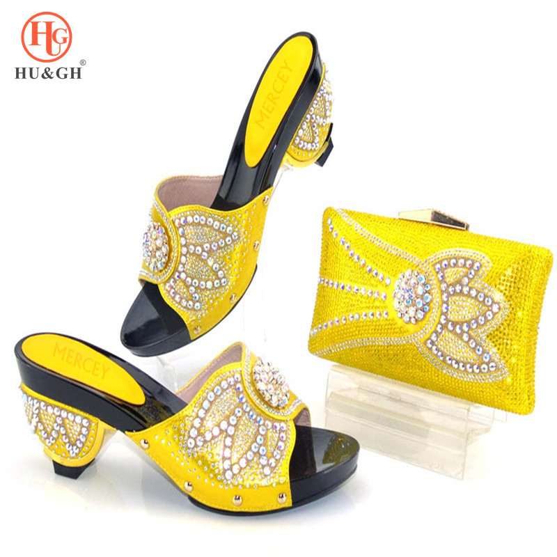 2018 Yellow Color Italian Shoes and Bags To Match Shoes with Bag Set Decorated with Rhinestone Woman Italian Shoes and Bags Set цены онлайн