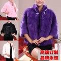 Chaqueta Para Mujeres Reales de Piel de Visón Natural de Piel de Visón Abrigo de piel de visón Auténtico Moda Femenina Ropa de Abrigo de Invierno