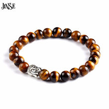 JINSE Strand Bracelet Men Natural Stone Buddha Bead Bracelets Charm Buddhist Volcanic Rock Tiger Eye Vintage Women Jewelry 2017(China)