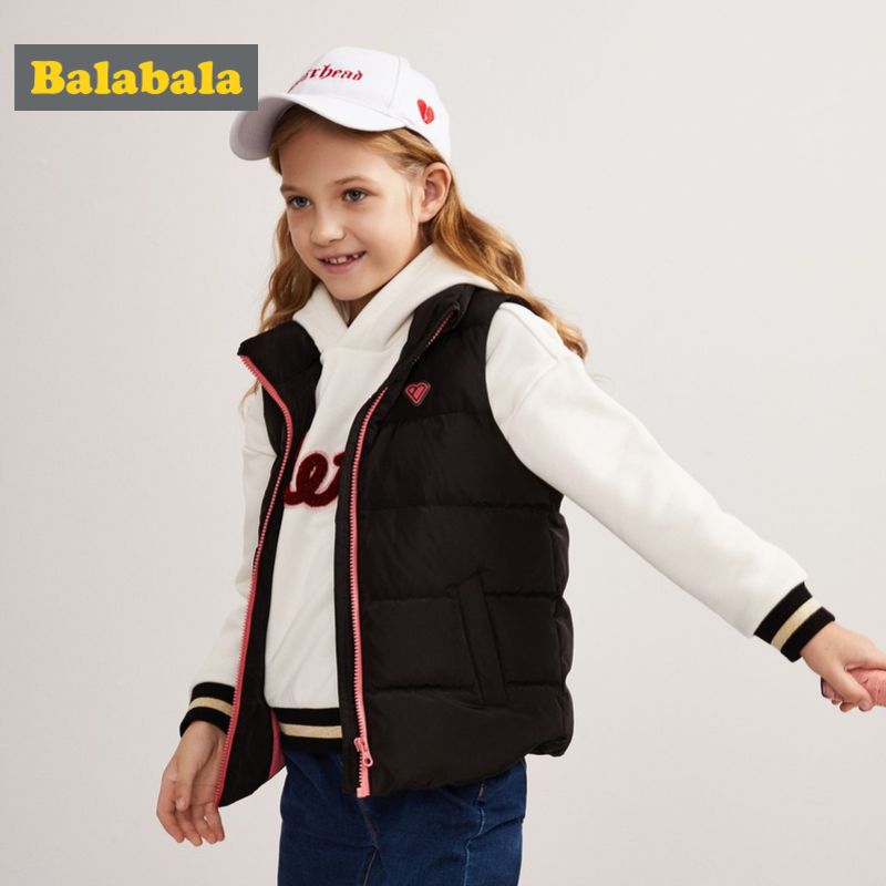 Balabala Girl Quilted Lightweight Puffer Vest Chinlon Lined with Stand-up Collar Teenage Girl Zip-up Down Vest with Slant Pocket girl