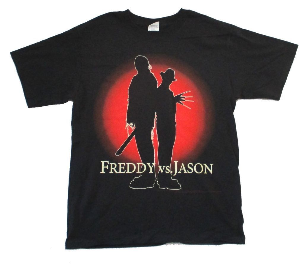 Gildan Freddy vs Jason Silhouettes Black T Shirt New Movie Friday 13th Nightmare Elm St