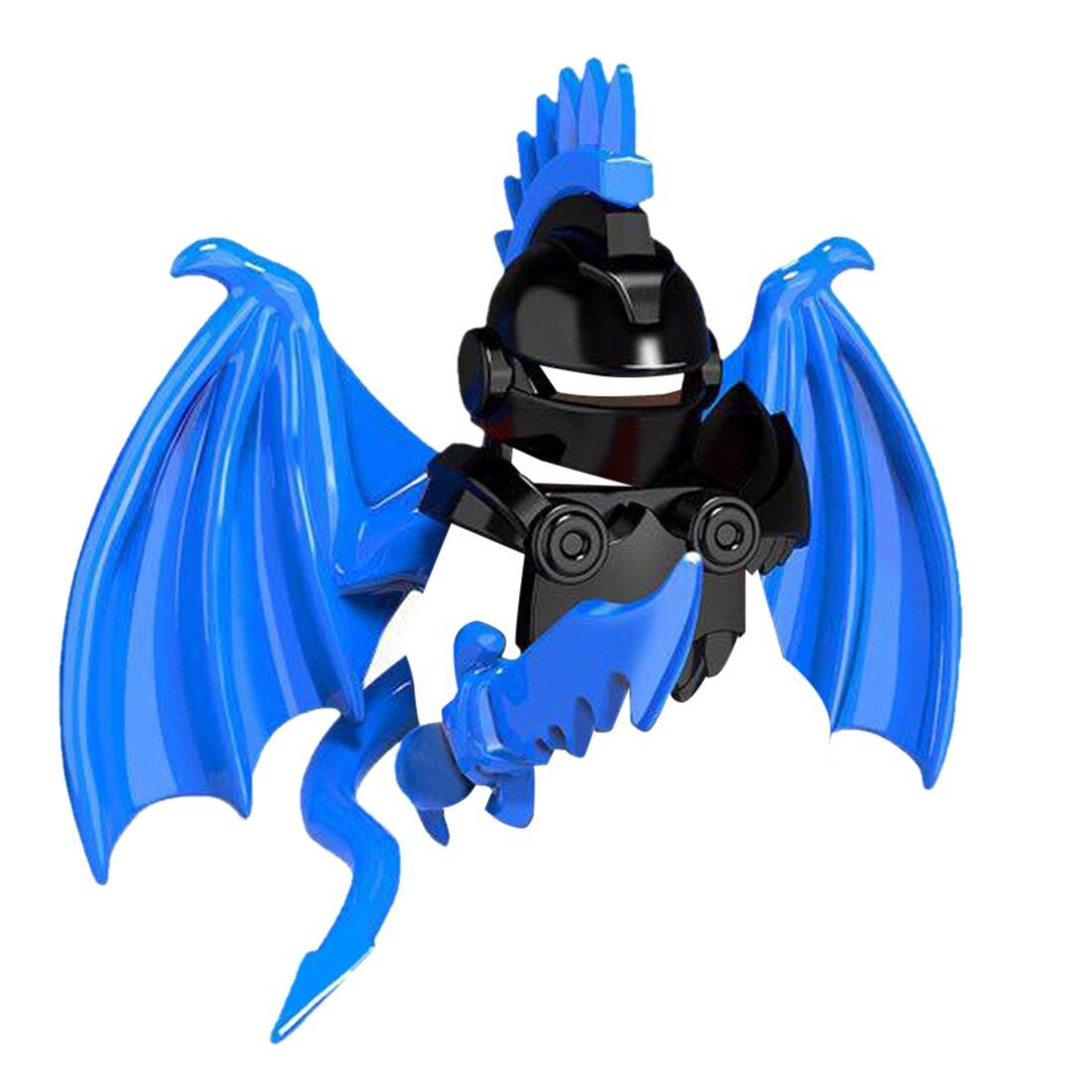 Средневековая тема Дракон рыцарь доспехи комплект оружия для DIY небольших частиц строительный блок(без фигуры)-синий PGPJ4072 - Цвет: 4