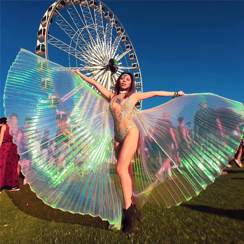 Bling Transparent Shawls Women Sexy Belly Dance Cloak Stage Performance Scenery Shiny Butterfly Wings New Costume Accessories