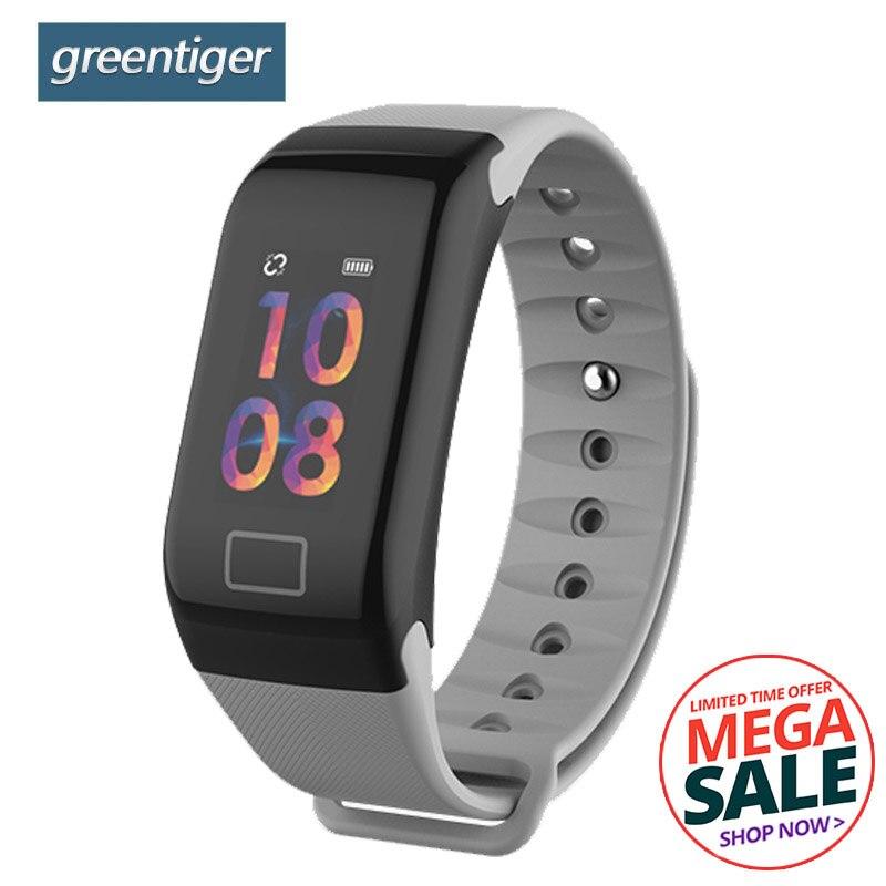 Greentiger F1 Plus Smart band Blood Pressure Waterproof Color Screen Sports Smart Bracelet Heart Rate Monitor Smart Wristband no 1 f1 heart rate monitor smart bracelet blue