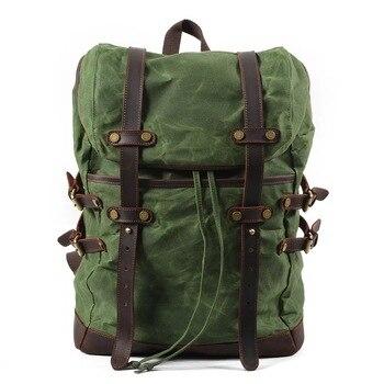 "15.6"" Laptop Backpack Men Vintage Large Capacity Waxed Waterproof Travel Daypacks Teenager Canvas Leather Drawstring Rucksacks"
