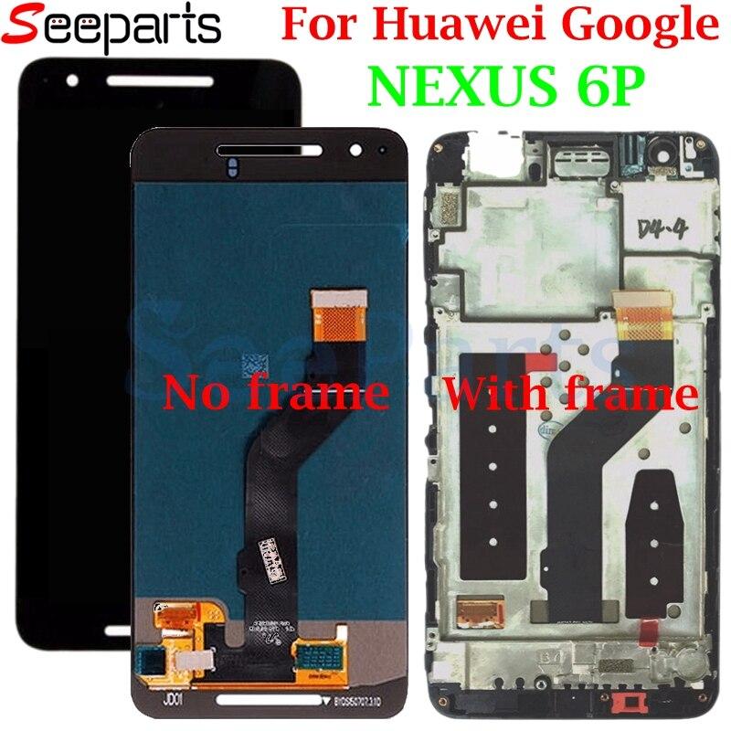 Huawei Google Nexus 6p ЖК-дисплей сенсорный экран дигитайзер панель сборка с рамкой Замена для huawei Nexus 6p 5,7 ЖК