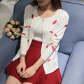 Новая мода осень-весна женщины все матч короткие красные губы вышивка дизайн кнопки вязание кардиган свитер верхняя одежда женская