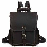 Новое поступление школьная сумка большой емкости путешествия рюкзак мужской ноутбук Кожаный Рюкзак bookbag
