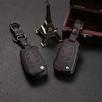 Skórzany uchwyt na kluczyk samochodowy pokrowiec do Kia K2 K5 ceed cerato sorento dusza sportage R Bongo Sorento zdalny ochraniacz 3 przyciski