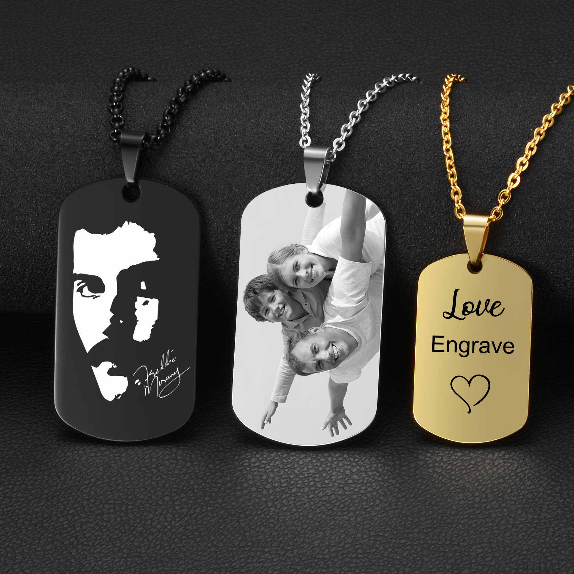 4 Colors Stainless Steel Custom Engraved Necklace Dog Army Tag Necklaces Personalized Name ID Memorial Photo Pendants Jewelry