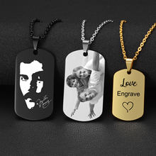 4 Colors Stainless Steel Custom Engraved Necklace Dog Army Tag Necklaces Personalized Name ID Memorial Photo Pendants Jewelry(China)