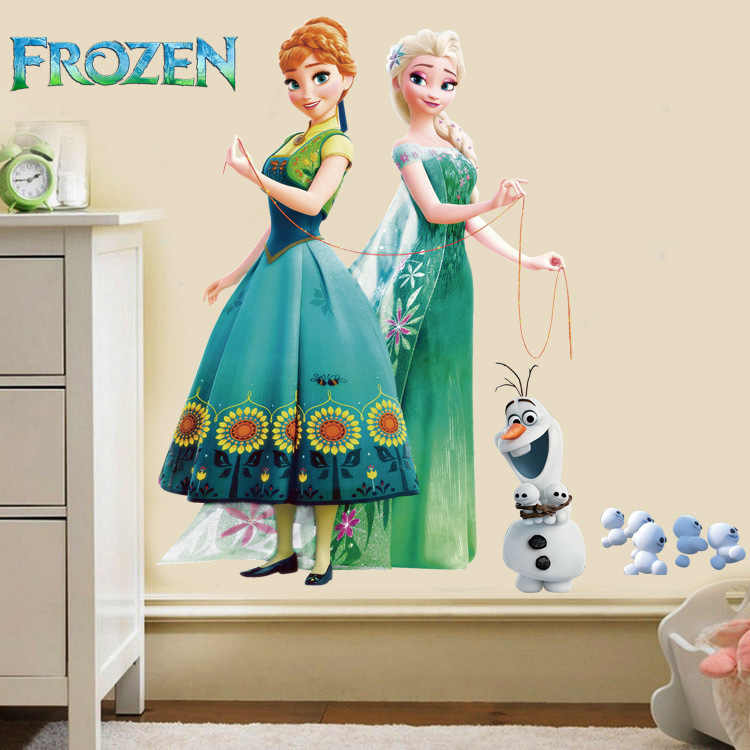 The new cartoon frozen Snow and ice colors Elsa princess Olaf Anna Kid's Children's room lovely wall stickers posters