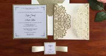 ที่กำหนดเองตัดเลเซอร์ Glitter ทองแต่งงานการ์ดเชิญงานเลี้ยงพร้อมริบบิ้นและแท็ก,50 PCS,จัดส่งฟรี